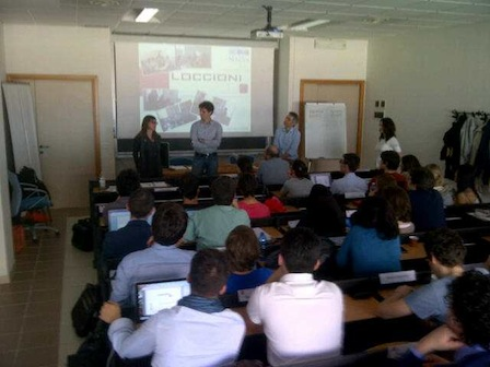 Marinella Massacesi and Alessandro Ragnoni address the class introduced by Andrea